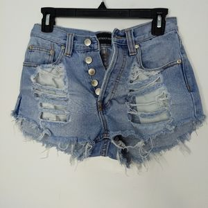 XS Mink Pink Destroyed Denim Shorts Daisy Dukes W